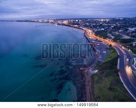 Aerial View Of Frankston Foreshore At Dusk