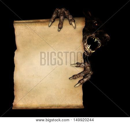 Paws of a monster holding a vintage scroll. Isolated on black background. 3d render