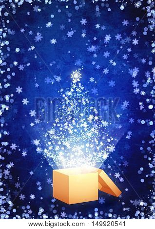 Christmas background with grunge paper texture of blue color, magic box, glitters, sparks, snowflakes