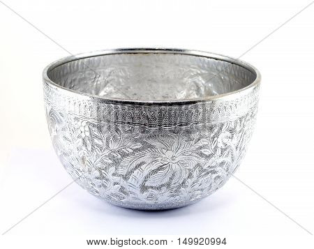silver water bowl on white background, containers for scoop water that used in the past.currently used as decorative Asian style or in religious ceremonies