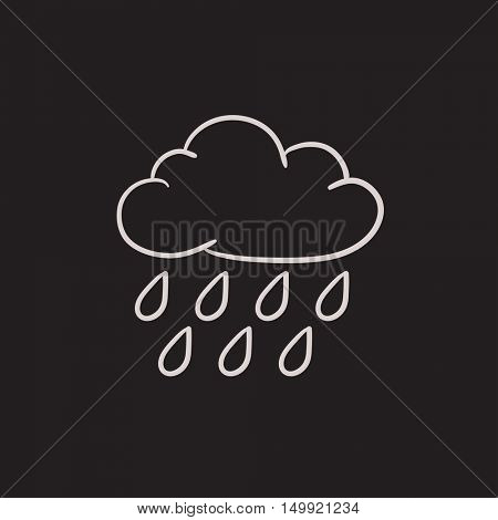 Cloud and rain vector sketch icon isolated on background. Hand drawn Cloud and rain icon. Cloud and rain sketch icon for infographic, website or app.