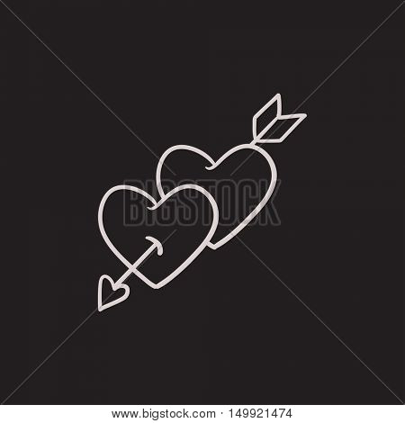 Two hearts pierced with arrow vector sketch icon isolated on background. Hand drawn Two hearts pierced with arrow icon. Two hearts pierced with arrow sketch icon for infographic, website or app.
