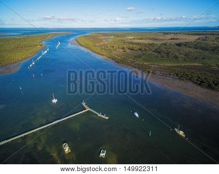 Aerial View Of Warneet Pier With Ocean Inlet