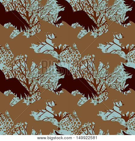 seamless pattern with predatory birds silhouettes, vector illustration