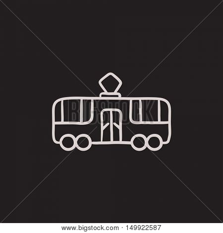 Tram vector sketch icon isolated on background. Hand drawn Tram icon. Tram sketch icon for infographic, website or app.