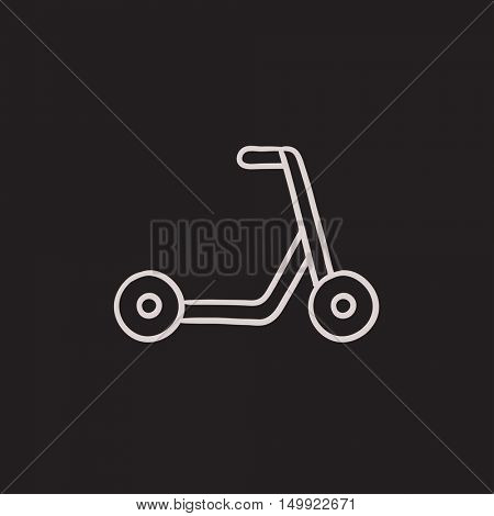 Kick scooter vector sketch icon isolated on background. Hand drawn Kick scooter icon. Kick scooter sketch icon for infographic, website or app.