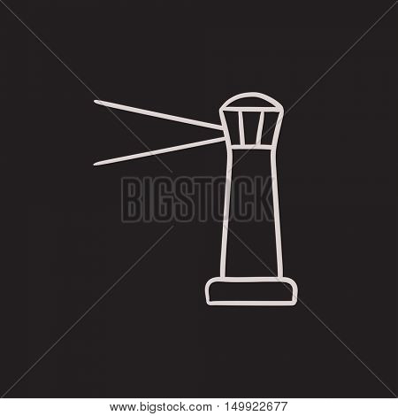 Lighthouse vector sketch icon isolated on background. Hand drawn Lighthouse icon. Lighthouse sketch icon for infographic, website or app.