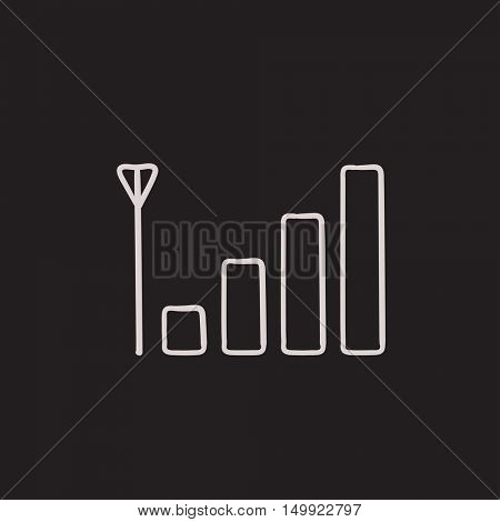 Mobile phone signal sign vector sketch icon isolated on background. Hand drawn Mobile phone signal sign icon. Mobile phone signal sign sketch icon for infographic, website or app.