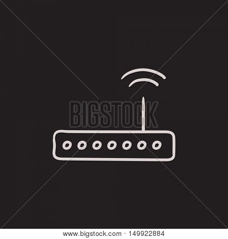 Wireless router vector sketch icon isolated on background. Hand drawn Wireless router icon. Wireless router sketch icon for infographic, website or app.