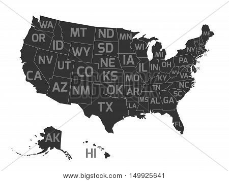 Map of United States od America, aka USA, with US states abbreviation zip codes. Flat simplified dark grey vector map with light grey labels on white background.