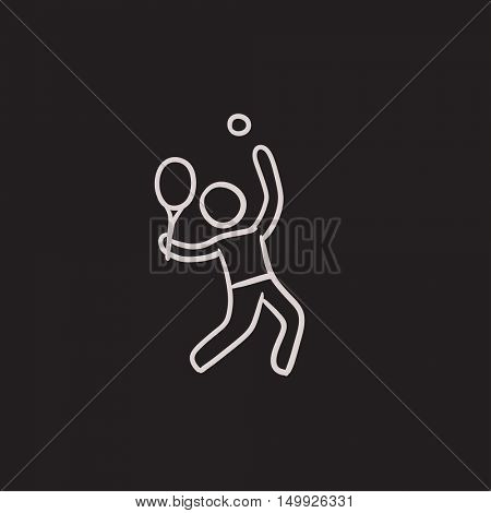 Man playing big tennis vector sketch icon isolated on background. Hand drawn Man playing big tennis icon. Man playing big tennis sketch icon for infographic, website or app.