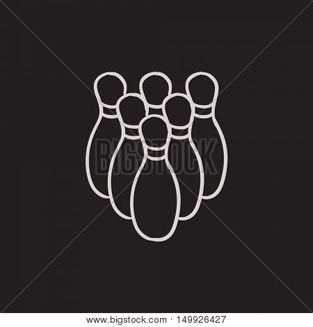 Bowling pins vector sketch icon isolated on background. Hand drawn Bowling pins icon. Bowling pins sketch icon for infographic, website or app.
