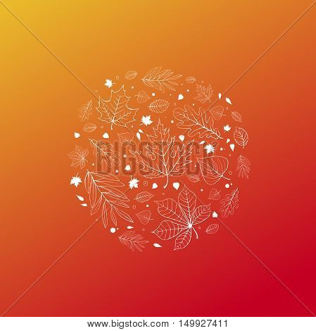 Autumn leaves design white outline on orange background