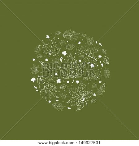 Autumn leaves design white outline on green background