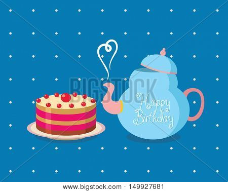 Tea party birthday. Birthday Party Invitation. Card Template