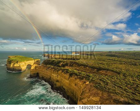 Aerial View Of Rainbow Over Mutton Bird Island, Australia.