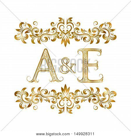 A&E vintage initials logo symbol. Letters A E ampersand surrounded floral ornament. Wedding or business partners initials monogram in royal style.