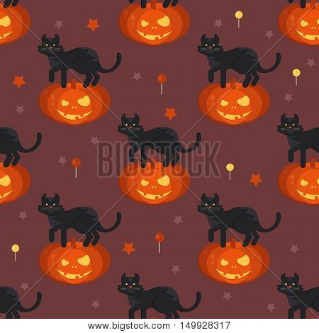 Halloween pumpkin head with black cat seamless pattern. Halloween background for shops wrapper gift wrap textile party banners and wallpaper.