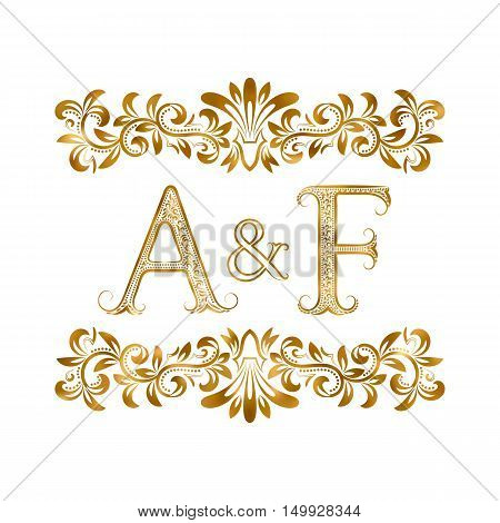A&F vintage initials logo symbol. Letters A F ampersand surrounded floral ornament. Wedding or business partners initials monogram in royal style.