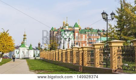 background cityscape view of the Orthodox Church in Yoshkar-Ola