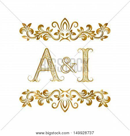 A&I vintage initials logo symbol. Letters A I ampersand surrounded floral ornament. Wedding or business partners initials monogram in royal style.