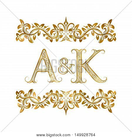 A&K vintage initials logo symbol. Letters A K ampersand surrounded floral ornament. Wedding or business partners initials monogram in royal style.