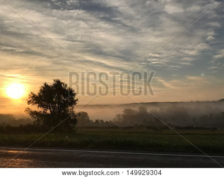 Sugargrove PA, Sunsrise and Fog during early morning