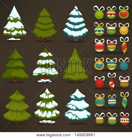 Set of christmas green trees and decoration ball. Winter holiday design elements: xmas fir with snow and decoration. Cartoon style. Isolated vector illustrations