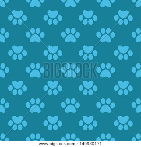 Cat Paw Print. Vector seamless pattern. Endless texture can be used for wallpaper, printing on fabric, paper, scrapbooking.