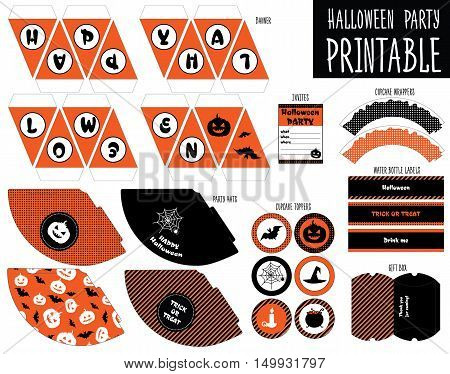 Printable set for Halloween party. Handmade cut out, vector