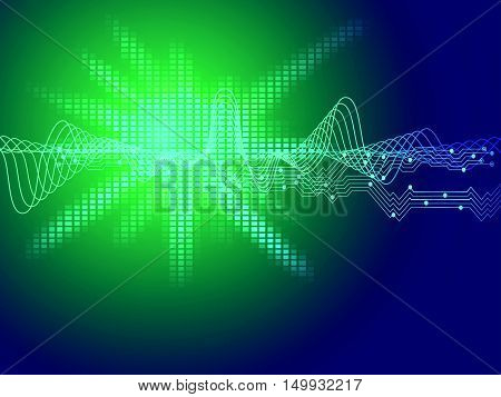 technology vector background with circuit board and sound wave pattern