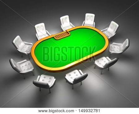 Poker table with chairs top view isolated on white