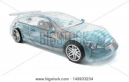 Car design wire model. My own design.