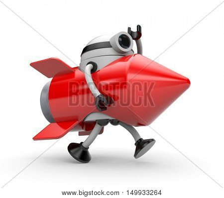 Robot suit rocket runs somewhere. 3d illustration