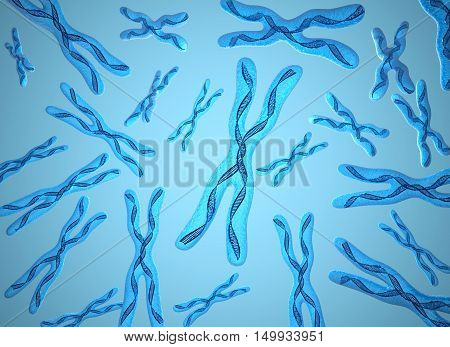 Chromosome x and DNA Strands background,3D render