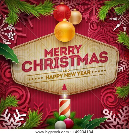 Vector Christmas and new year wishes on card. Christmas related ornaments objects on color background. Elements are layered separately in vector file.
