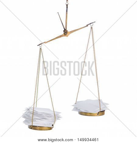 concept election of ballot scale with heap paper blanks is isolated on white background close up