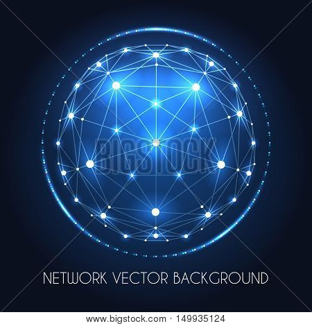 Internet data vector connection concept. Globe network sphere of cyber world technology blue background