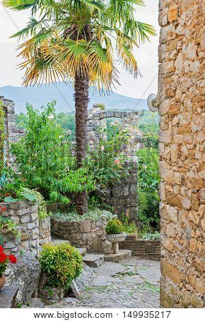 Beautiful ancient stone buildings in Istria, Croatia
