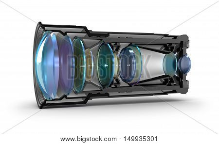 Sectional camera lens view, 3D render ,