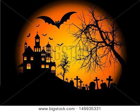 Spooky Halloween background with haunted house on a hill