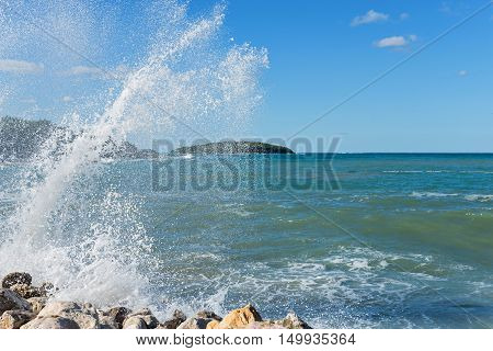 High waves and water splashes in Istria, Croatia