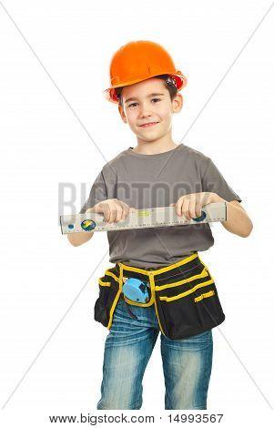 Happy Kid Boy Holding Bubble Level