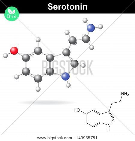 Serotonin molecular structure 3d vector illustration isolated on white background eps 8
