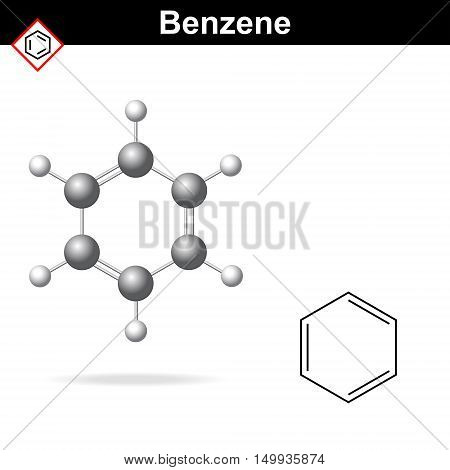 Benzene 3d molecular structure and 2d chemical formula 2d and 3d vector illustration isolated on white background eps 8