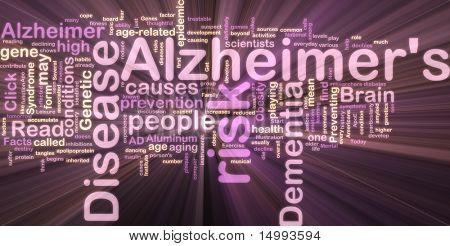 Word cloud concept illustration of Alzheimer's disease glowing neon light style