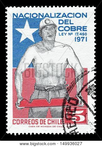 CHILE - CIRCA 1971 : Cancelled postage stamp printed by Chile, that shows Miner and Chilean flag.