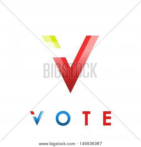V letter icon voting concept illustration 2d vector sign isolated on white background eps 10