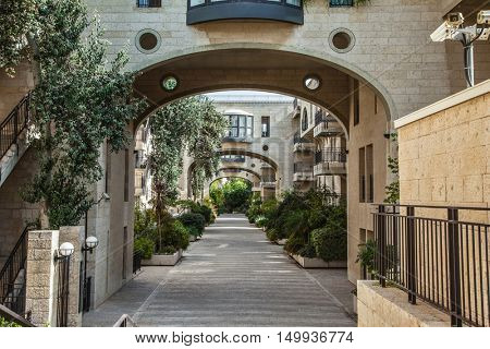 Jerusalem, Israel. Elegant arched passageway between buildings