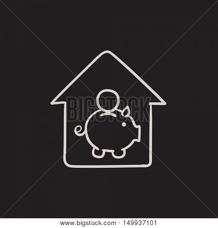 House savings vector sketch icon isolated on background. Hand drawn House savings icon. House savings sketch icon for infographic, website or app.